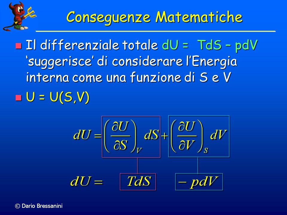 © Dario Bressanini Equazione Fondamentale Dalla prima legge abbiamo Dalla prima legge abbiamo dU = dq + dw Considerando una trasformazione reversibile