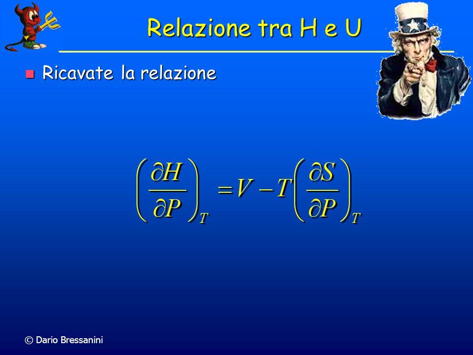 © Dario Bressanini dU = TdS – pdV dU = TdS – pdV Divido per dV a T costante Divido per dV a T costante Equazione di Stato Termodinamica