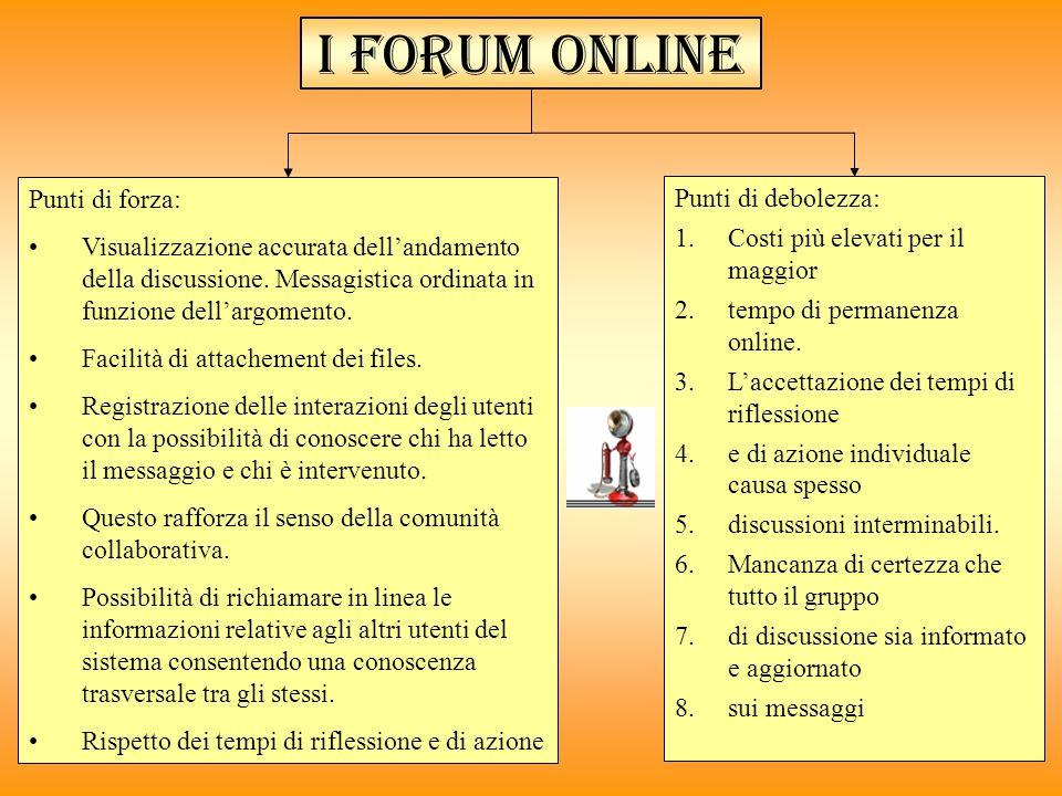 I forum online Punti di forza: Visualizzazione accurata dellandamento della discussione. Messagistica ordinata in funzione dellargomento. Facilità di
