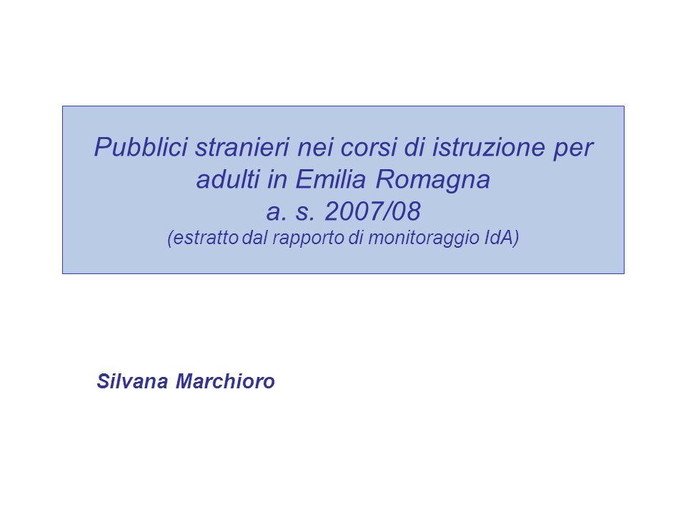 Pubblici stranieri nei corsi di istruzione per adulti in Emilia Romagna a.