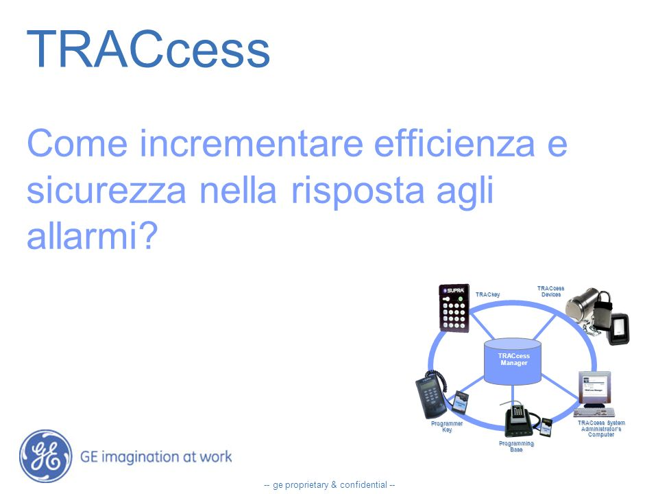 -- ge proprietary & confidential -- TRACcess Come incrementare efficienza e sicurezza nella risposta agli allarmi.