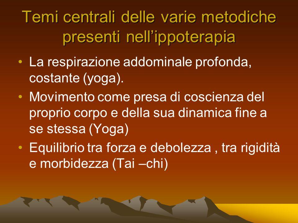 Temi centrali delle varie metodiche presenti nellippoterapia La respirazione addominale profonda, costante (yoga).
