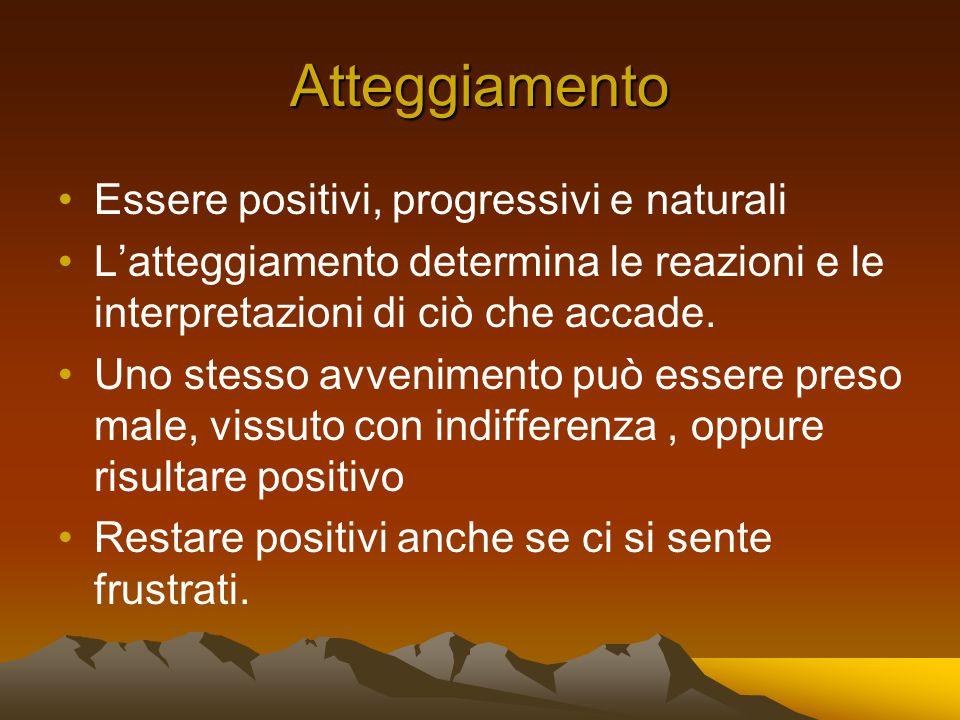 Atteggiamento Essere positivi, progressivi e naturali Latteggiamento determina le reazioni e le interpretazioni di ciò che accade.