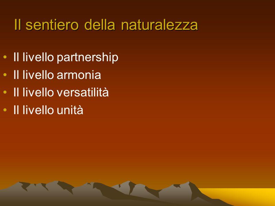 Il sentiero della naturalezza Il livello partnership Il livello armonia Il livello versatilità Il livello unità