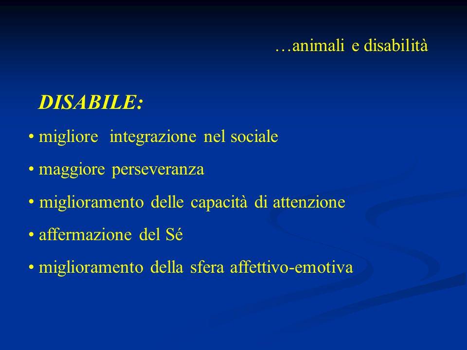 …animali e disabilità DISABILE: migliore integrazione nel sociale maggiore perseveranza miglioramento delle capacità di attenzione affermazione del Sé miglioramento della sfera affettivo-emotiva