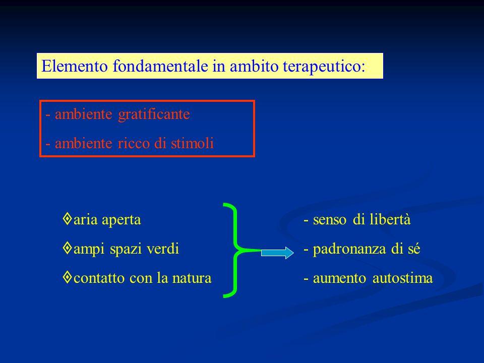 Elemento fondamentale in ambito terapeutico: - ambiente gratificante - ambiente ricco di stimoli aria aperta- senso di libertà ampi spazi verdi- padronanza di sé contatto con la natura- aumento autostima