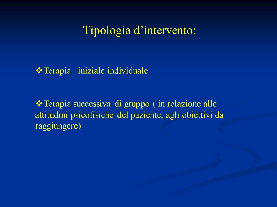Tipologia dintervento: Terapia iniziale individuale Terapia successiva di gruppo ( in relazione alle attitudini psicofisiche del paziente, agli obiettivi da raggiungere)