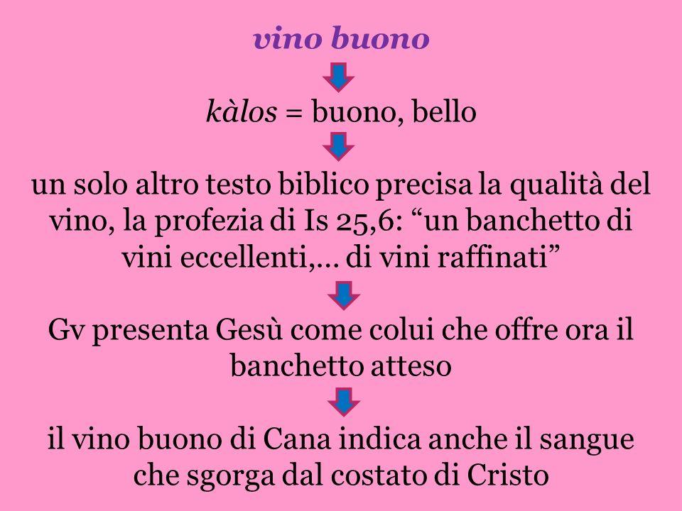 vino buono kàlos = buono, bello un solo altro testo biblico precisa la qualità del vino, la profezia di Is 25,6: un banchetto di vini eccellenti,… di