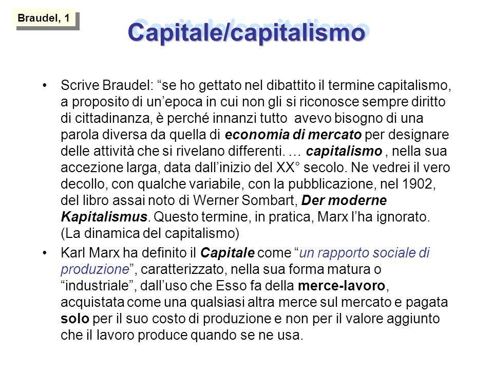Capitale/capitalismoCapitale/capitalismo Scrive Braudel: se ho gettato nel dibattito il termine capitalismo, a proposito di unepoca in cui non gli si riconosce sempre diritto di cittadinanza, è perché innanzi tutto avevo bisogno di una parola diversa da quella di economia di mercato per designare delle attività che si rivelano differenti.