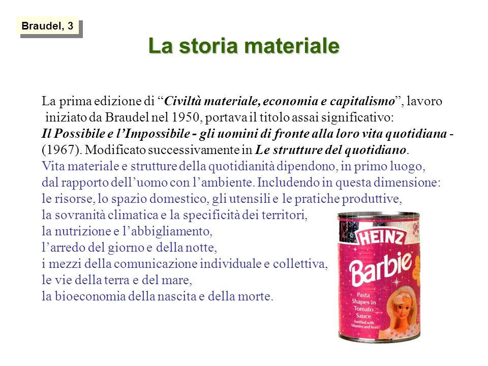 La storia materiale La prima edizione di Civiltà materiale, economia e capitalismo, lavoro iniziato da Braudel nel 1950, portava il titolo assai significativo: Il Possibile e lImpossibile - gli uomini di fronte alla loro vita quotidiana - (1967).