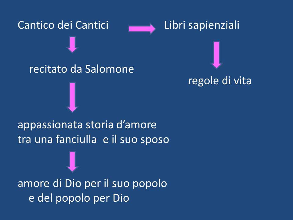 Cantico dei CanticiLibri sapienziali recitato da Salomone regole di vita appassionata storia damore tra una fanciulla e il suo sposo amore di Dio per il suo popolo e del popolo per Dio