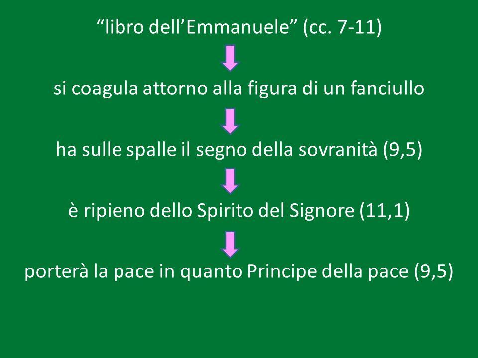 libro dellEmmanuele (cc. 7-11) si coagula attorno alla figura di un fanciullo ha sulle spalle il segno della sovranità (9,5) è ripieno dello Spirito d