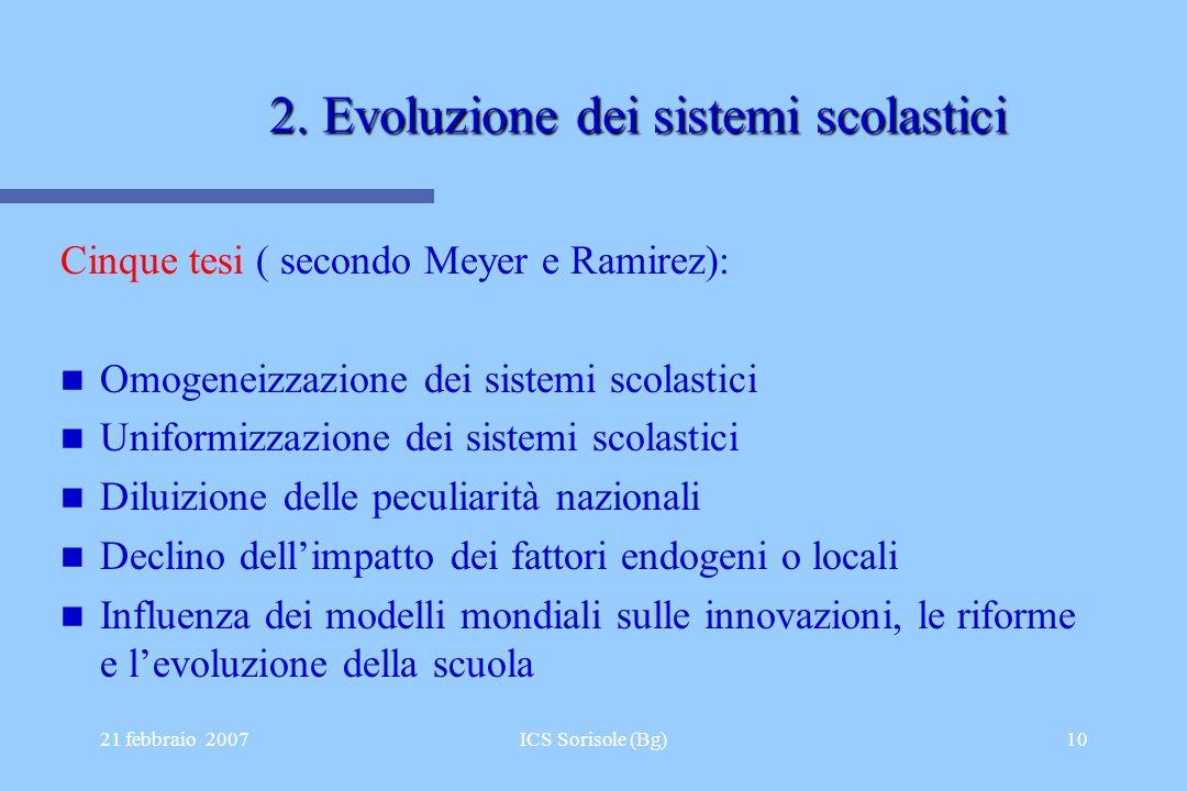 21 febbraio 2007ICS Sorisole (Bg)10 2. Evoluzione dei sistemi scolastici Cinque tesi ( secondo Meyer e Ramirez): Omogeneizzazione dei sistemi scolasti