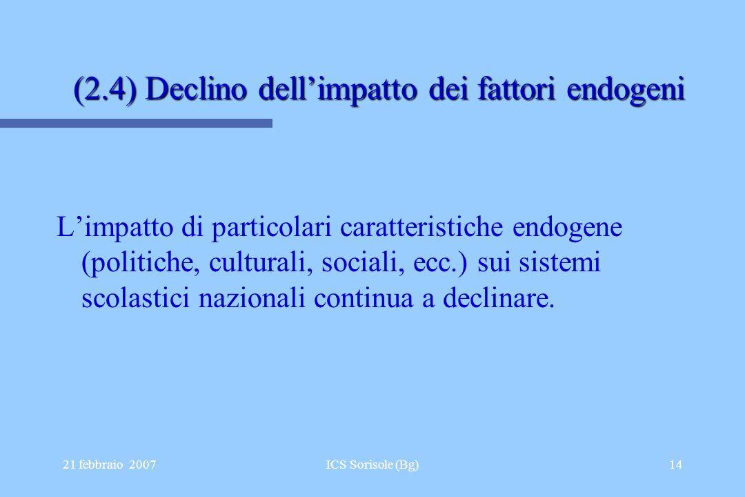 21 febbraio 2007ICS Sorisole (Bg)14 (2.4) Declino dellimpatto dei fattori endogeni Limpatto di particolari caratteristiche endogene (politiche, cultur