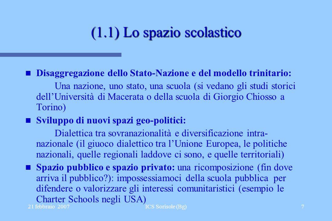 21 febbraio 2007ICS Sorisole (Bg)7 (1.1) Lo spazio scolastico Disaggregazione dello Stato-Nazione e del modello trinitario: Una nazione, uno stato, un