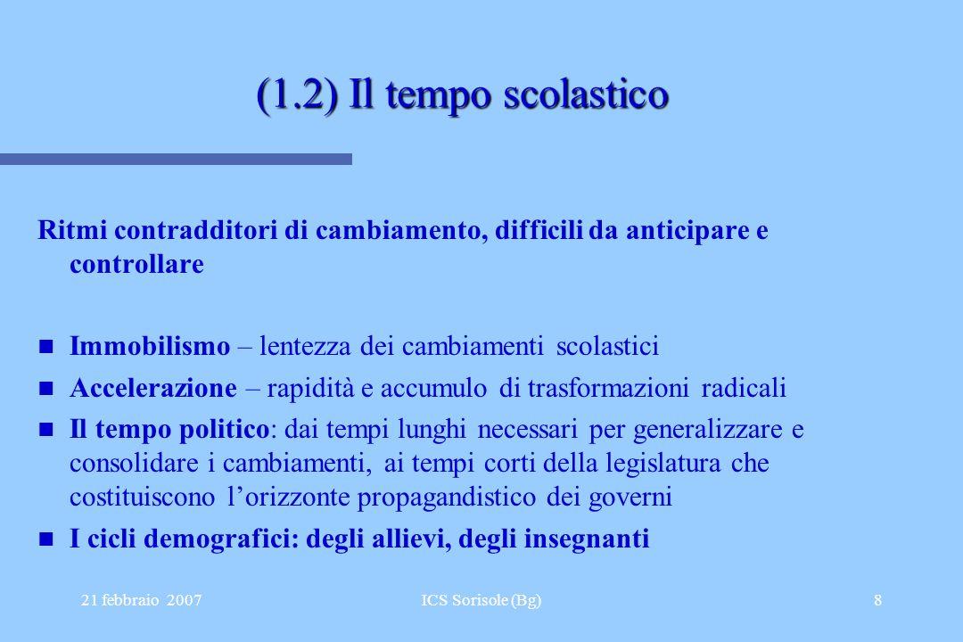 21 febbraio 2007ICS Sorisole (Bg)8 (1.2) Il tempo scolastico Ritmi contradditori di cambiamento, difficili da anticipare e controllare Immobilismo – l