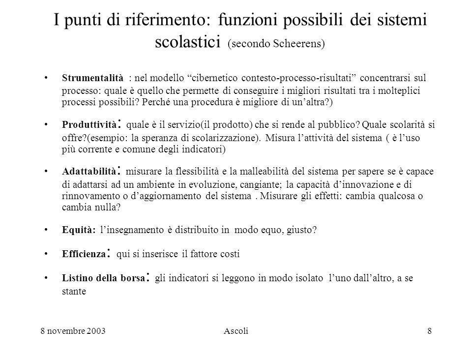 8 novembre 2003Ascoli9 Prendere decisioni La valutazione in sé e per sé non è sufficiente.