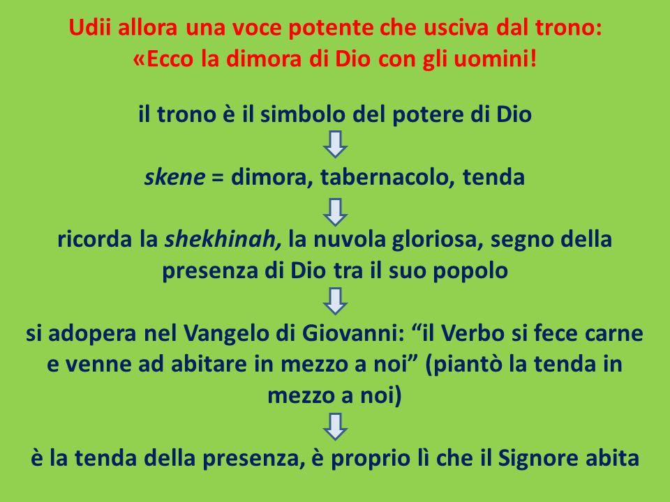 Udii allora una voce potente che usciva dal trono: «Ecco la dimora di Dio con gli uomini! il trono è il simbolo del potere di Dio skene = dimora, tabe