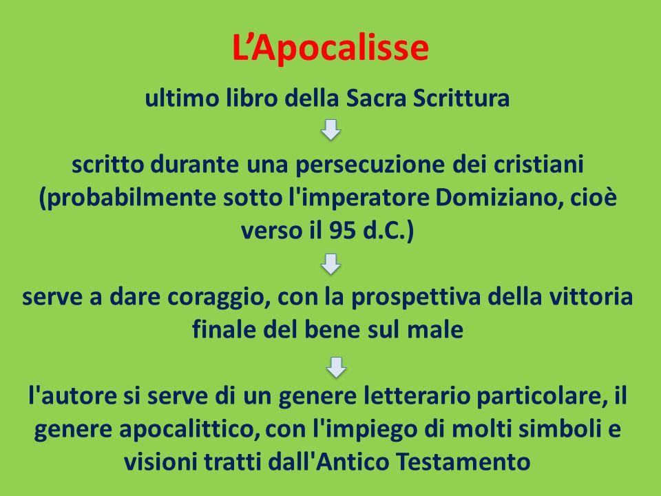 LApocalisse ultimo libro della Sacra Scrittura scritto durante una persecuzione dei cristiani (probabilmente sotto l'imperatore Domiziano, cioè verso