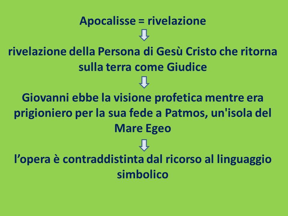 Apocalisse = rivelazione rivelazione della Persona di Gesù Cristo che ritorna sulla terra come Giudice Giovanni ebbe la visione profetica mentre era p