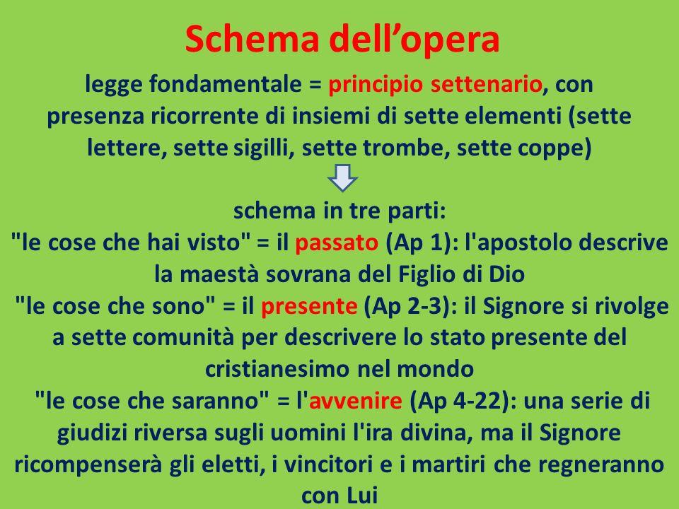 Schema dellopera legge fondamentale = principio settenario, con presenza ricorrente di insiemi di sette elementi (sette lettere, sette sigilli, sette