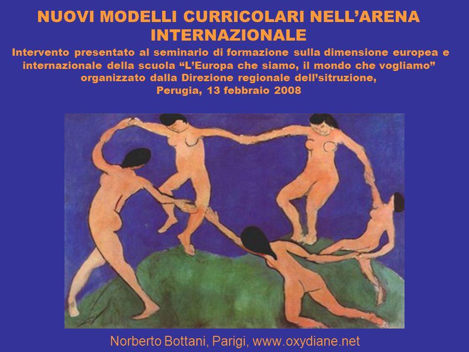 NUOVI MODELLI CURRICOLARI NELLARENA INTERNAZIONALE Intervento presentato al seminario di formazione sulla dimensione europea e internazionale della sc