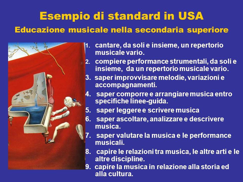 Esempio di standard in USA Educazione musicale nella secondaria superiore 1. cantare, da soli e insieme, un repertorio musicale vario. 2. compiere per