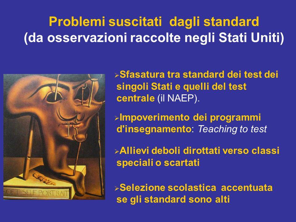 Problemi suscitati dagli standard (da osservazioni raccolte negli Stati Uniti) Sfasatura tra standard dei test dei singoli Stati e quelli del test centrale (il NAEP).