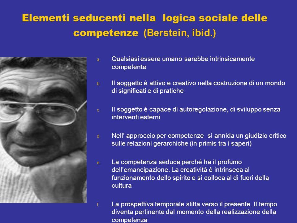 Elementi seducenti nella logica sociale delle competenze (Berstein, ibid.) a.