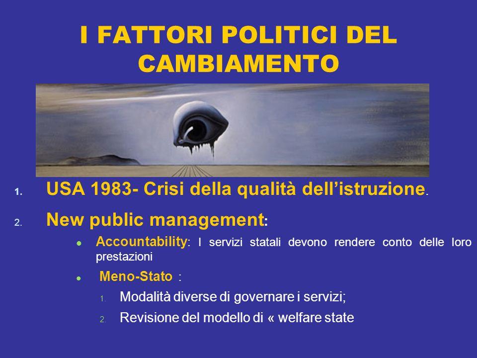 I FATTORI POLITICI DEL CAMBIAMENTO 1. USA 1983- Crisi della qualità dellistruzione.