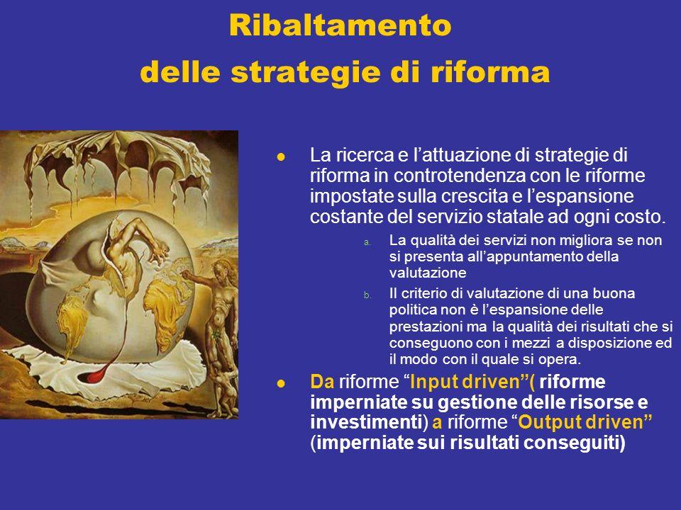 Ribaltamento delle strategie di riforma La ricerca e lattuazione di strategie di riforma in controtendenza con le riforme impostate sulla crescita e lespansione costante del servizio statale ad ogni costo.