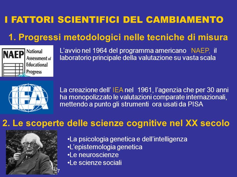 21 novembre 2007 I FATTORI SCIENTIFICI DEL CAMBIAMENTO Lavvio nel 1964 del programma americano NAEP, il laboratorio principale della valutazione su vasta scala La creazione dell IEA nel 1961, lagenzia che per 30 anni ha monopolizzato le valutazioni comparate internazionali, mettendo a punto gli strumenti ora usati da PISA 1.