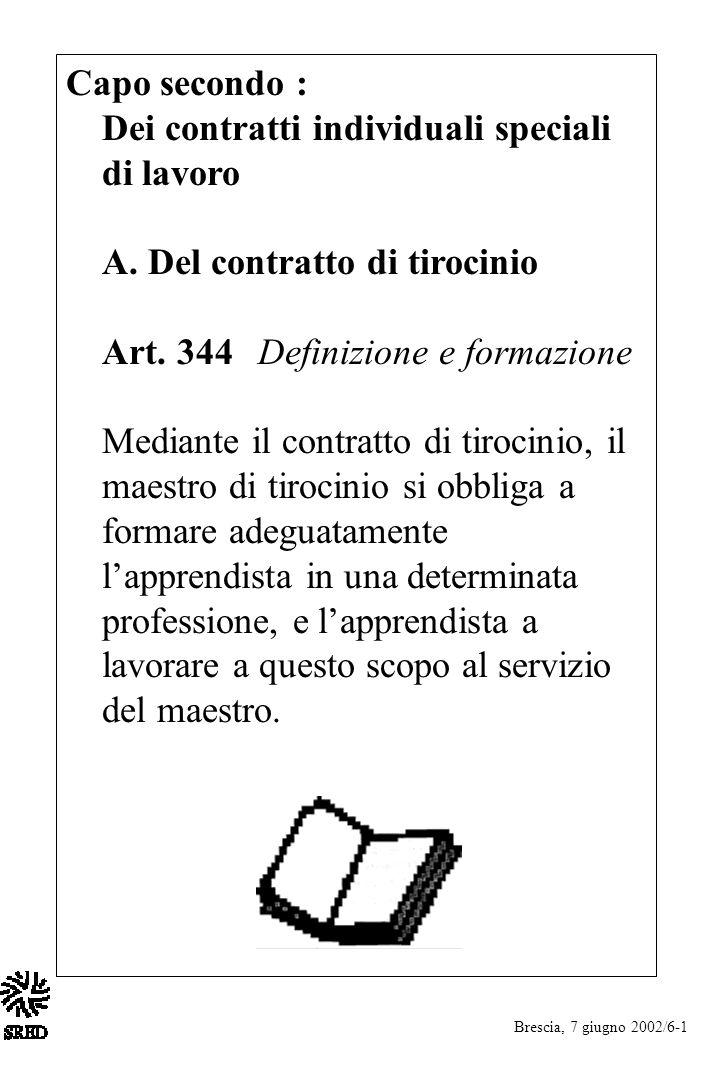 Capo secondo : Dei contratti individuali speciali di lavoro A. Del contratto di tirocinio Art. 344 Definizione e formazione Mediante il contratto di t