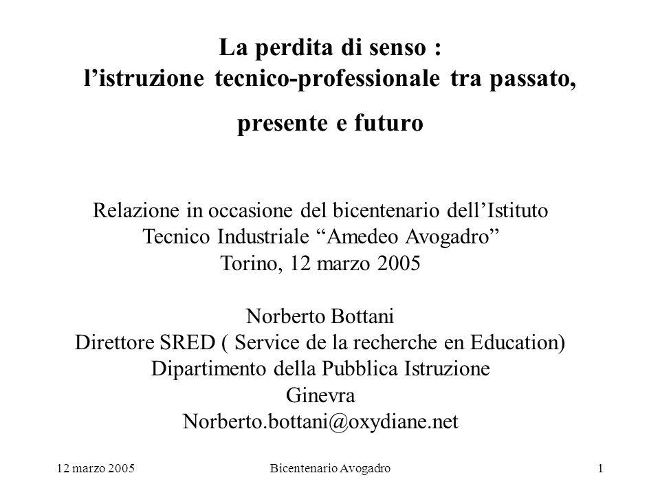 12 marzo 2005Bicentenario Avogadro1 La perdita di senso : listruzione tecnico-professionale tra passato, presente e futuro Relazione in occasione del
