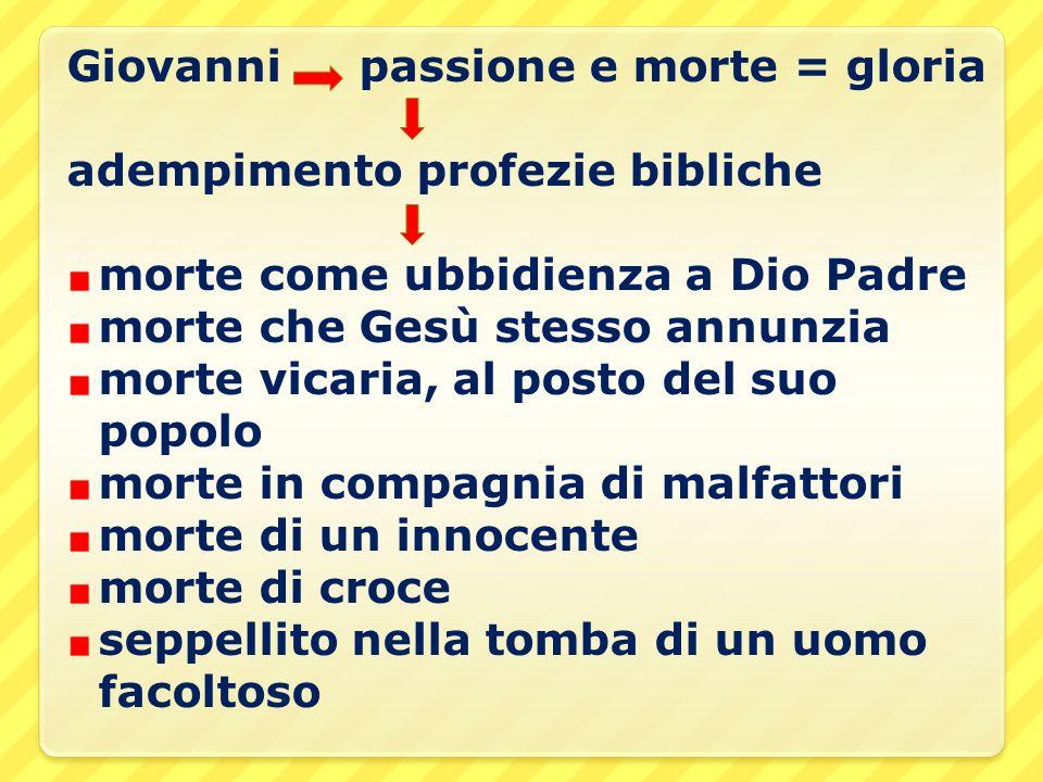 Giovanni passione e morte = gloria adempimento profezie bibliche morte come ubbidienza a Dio Padre morte che Gesù stesso annunzia morte vicaria, al po