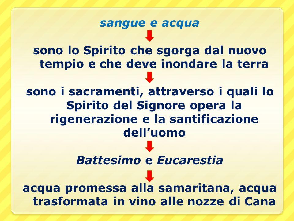 sangue e acqua sono lo Spirito che sgorga dal nuovo tempio e che deve inondare la terra sono i sacramenti, attraverso i quali lo Spirito del Signore o