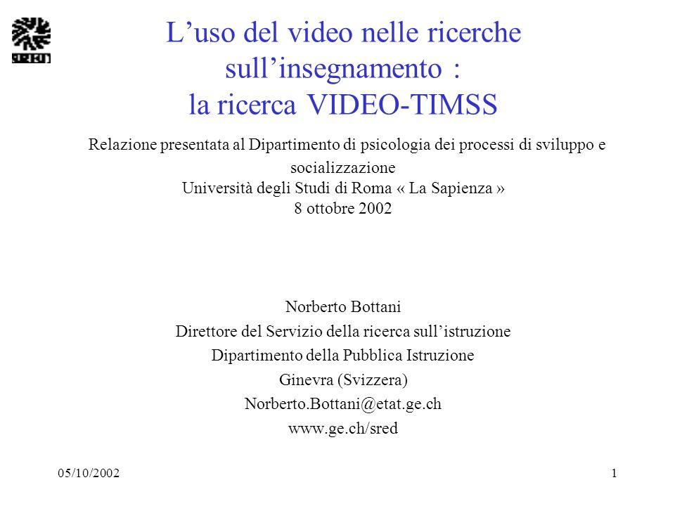 05/10/20021 Luso del video nelle ricerche sullinsegnamento : la ricerca VIDEO-TIMSS Relazione presentata al Dipartimento di psicologia dei processi di