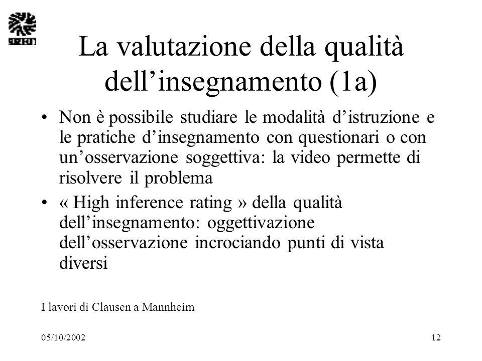 05/10/200212 La valutazione della qualità dellinsegnamento (1a) Non è possibile studiare le modalità distruzione e le pratiche dinsegnamento con quest