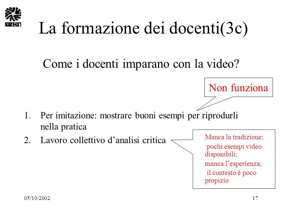 05/10/200217 La formazione dei docenti(3c) Come i docenti imparano con la video? 1.Per imitazione: mostrare buoni esempi per riprodurli nella pratica