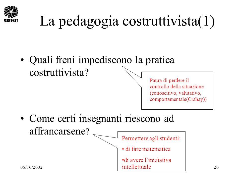 05/10/200220 La pedagogia costruttivista(1) Quali freni impediscono la pratica costruttivista? Come certi insegnanti riescono ad affrancarsene ? Paura