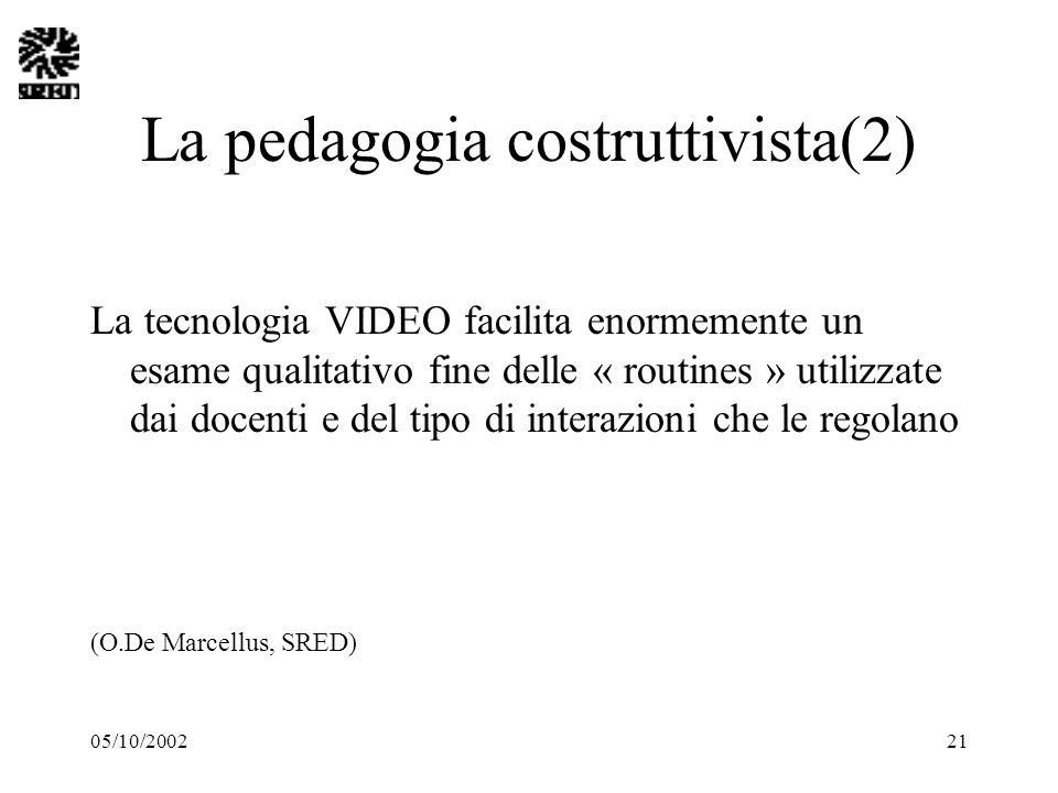 05/10/200221 La pedagogia costruttivista(2) La tecnologia VIDEO facilita enormemente un esame qualitativo fine delle « routines » utilizzate dai docen