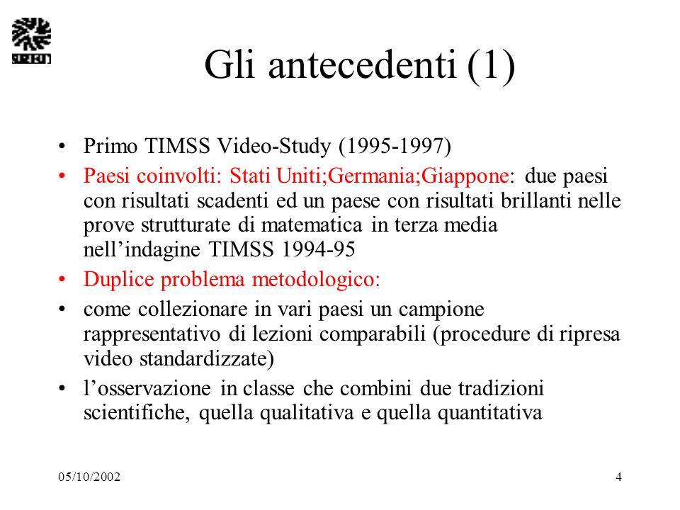 05/10/20024 Gli antecedenti (1) Primo TIMSS Video-Study (1995-1997) Paesi coinvolti: Stati Uniti;Germania;Giappone: due paesi con risultati scadenti e