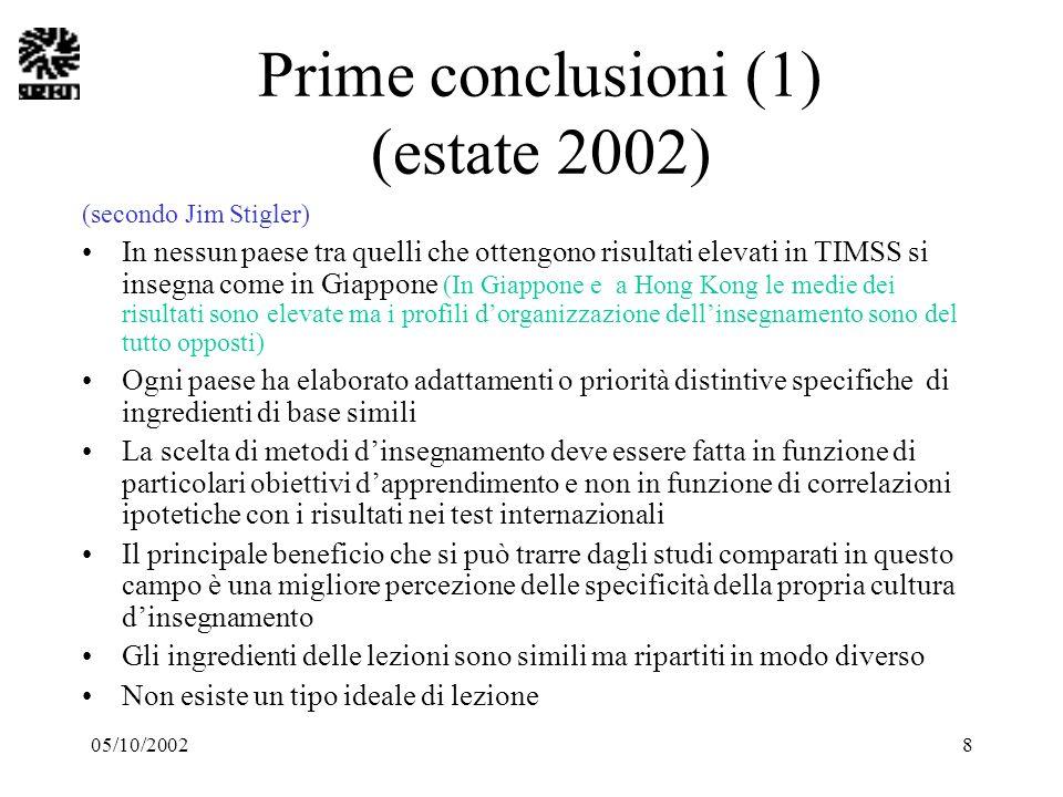 05/10/20028 Prime conclusioni (1) (estate 2002) (secondo Jim Stigler) In nessun paese tra quelli che ottengono risultati elevati in TIMSS si insegna c