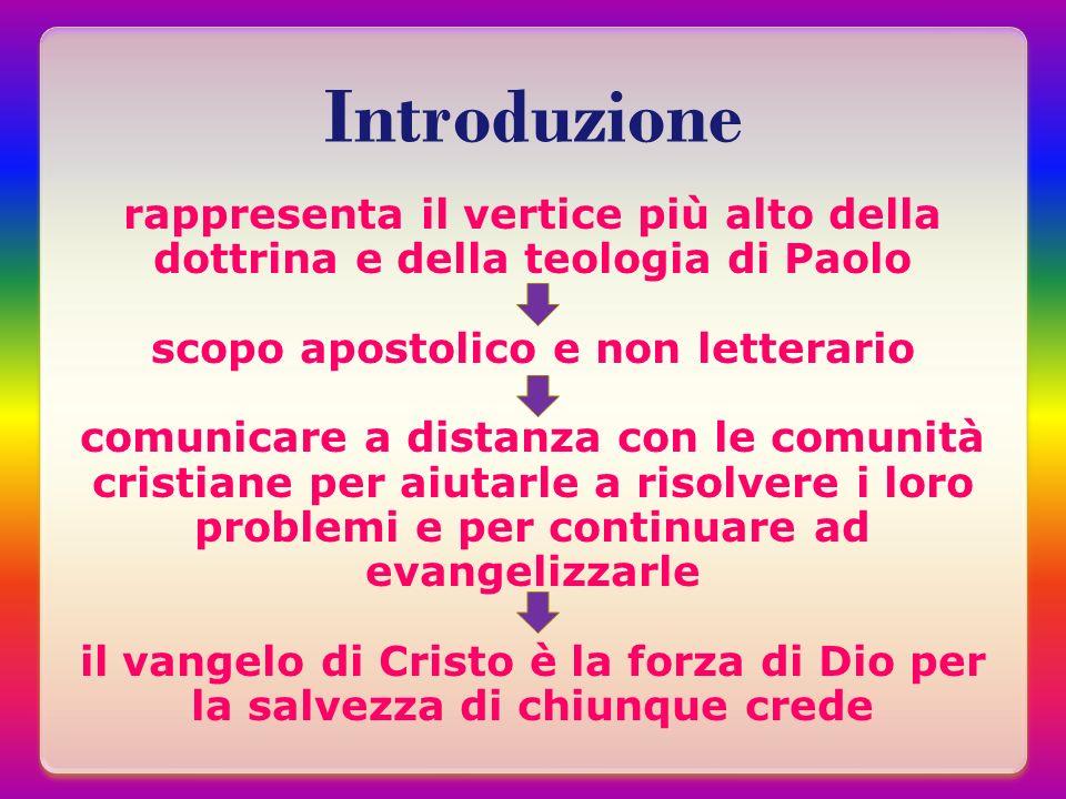 Introduzione rappresenta il vertice più alto della dottrina e della teologia di Paolo scopo apostolico e non letterario comunicare a distanza con le c