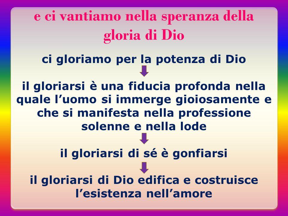 e ci vantiamo nella speranza della gloria di Dio ci gloriamo per la potenza di Dio il gloriarsi è una fiducia profonda nella quale luomo si immerge gi