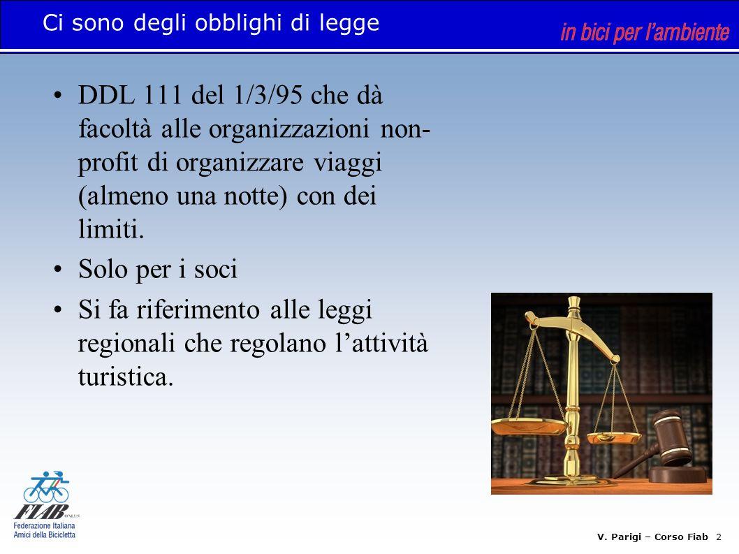 V. Parigi – Corso Fiab 2 Ci sono degli obblighi di legge DDL 111 del 1/3/95 che dà facoltà alle organizzazioni non- profit di organizzare viaggi (alme