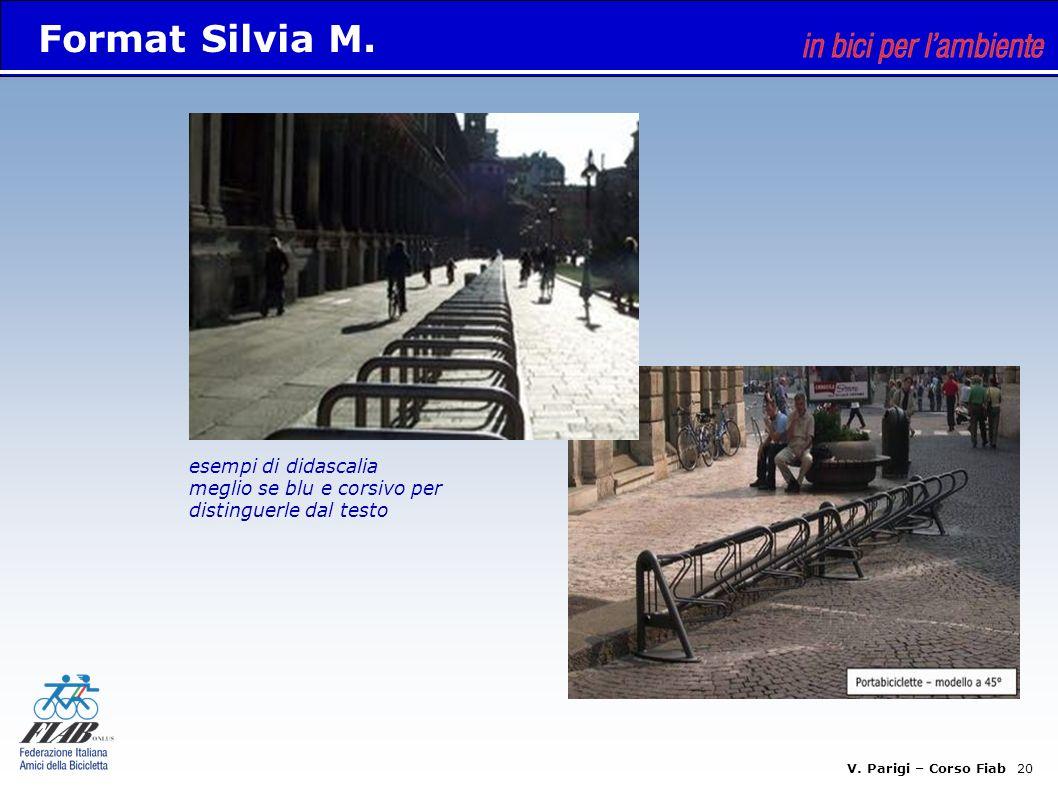 V. Parigi – Corso Fiab 20 esempi di didascalia meglio se blu e corsivo per distinguerle dal testo Format Silvia M.