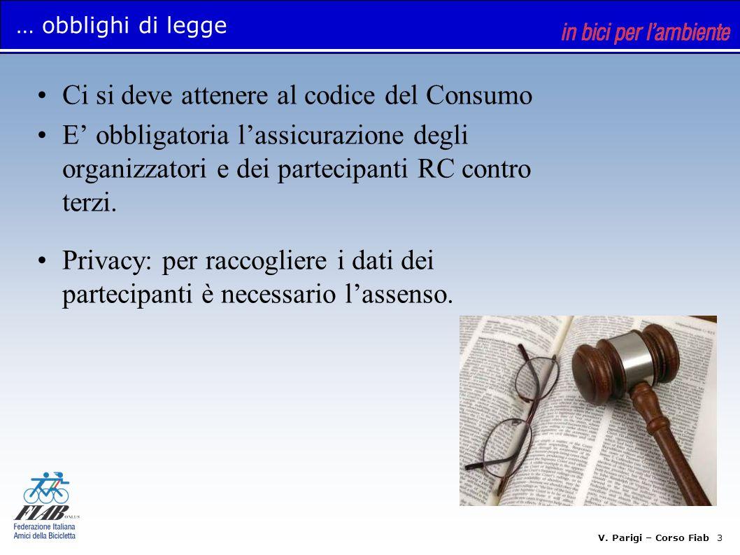 V. Parigi – Corso Fiab 3 … obblighi di legge Ci si deve attenere al codice del Consumo E obbligatoria lassicurazione degli organizzatori e dei parteci