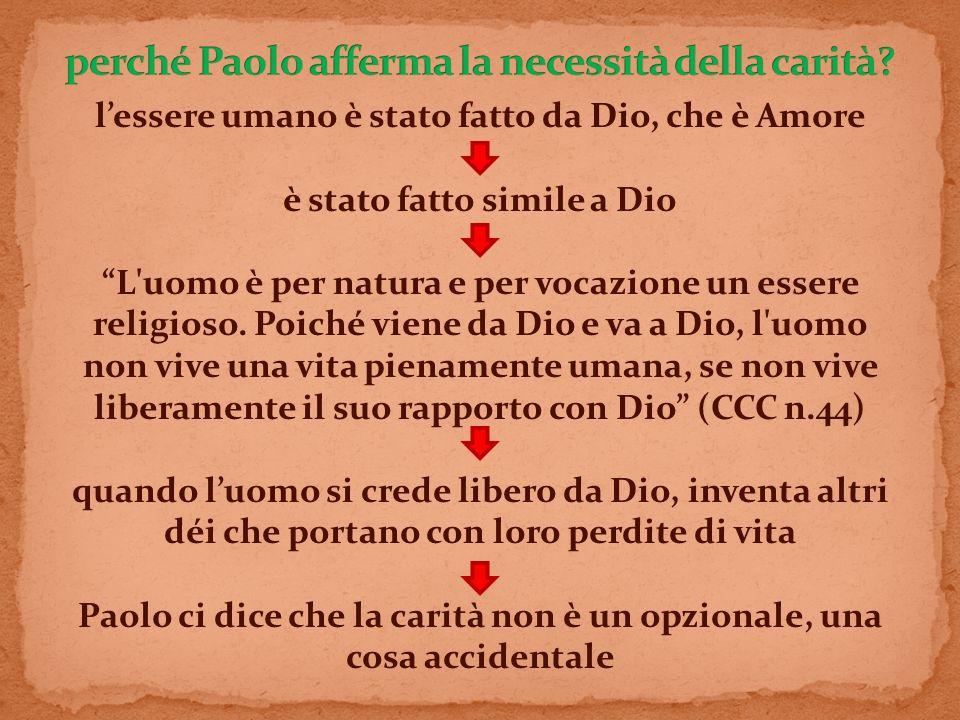 lessere umano è stato fatto da Dio, che è Amore è stato fatto simile a Dio L'uomo è per natura e per vocazione un essere religioso. Poiché viene da Di
