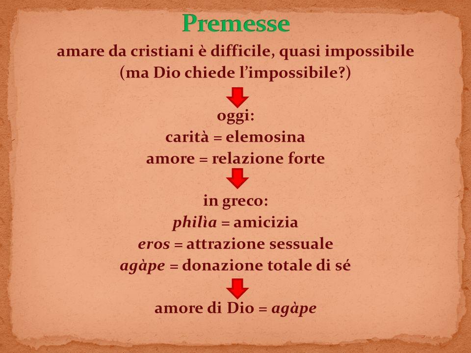amare da cristiani è difficile, quasi impossibile (ma Dio chiede limpossibile?) oggi: carità = elemosina amore = relazione forte in greco: philìa = am